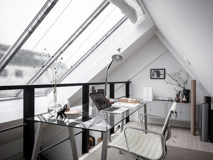 Shows mezzanine level which has been converted into private office. Inspiration for home mezzanine.