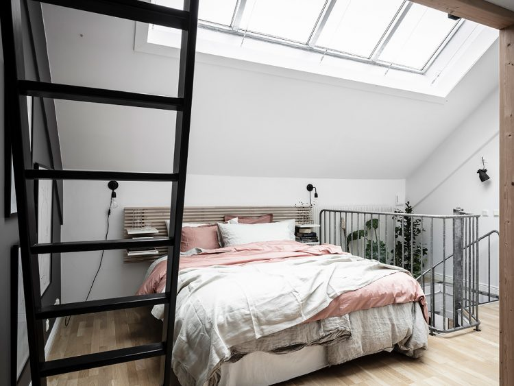 Shows bedroom level below mezzanine with mezzanine ladder visible. Mezzanine inspiration for the home to save space.