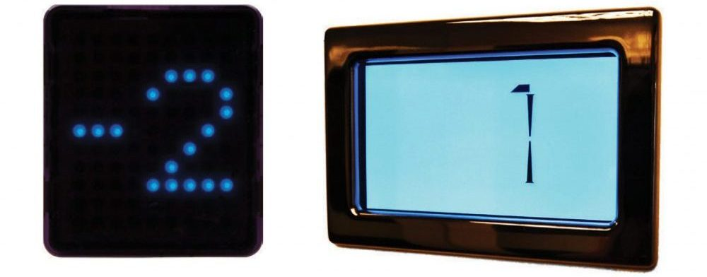 Digital Display options for landing doors and cabin.
