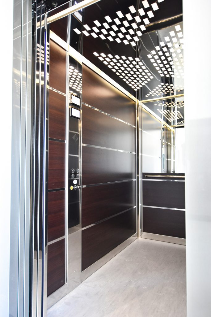 close up of an extra large cabin in a lift