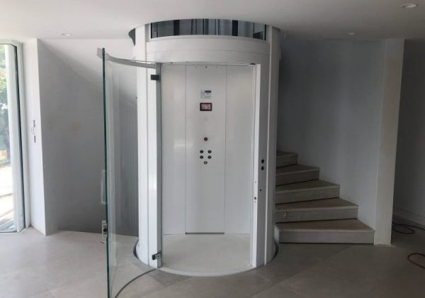 A white residential round lift in a Mosman home in NSW