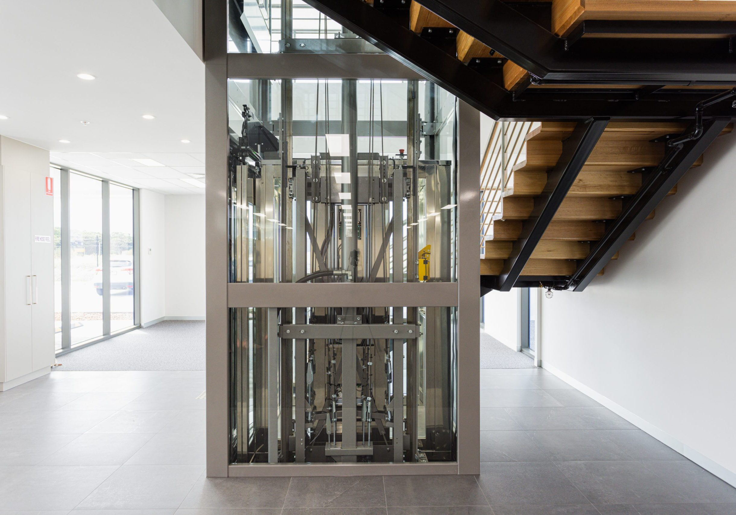 Commercial elevator viewed from the back, showcasing the engineering