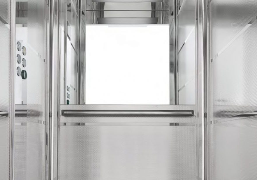 stainless steel maxi lift with handrail and half height mirror